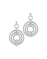 Alor Micro Cable Pave Diamond Circle Drop Earrings Gray