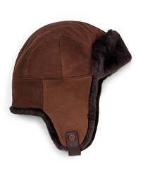 Ugg Shearling Fur Trapper Hat Chocolate