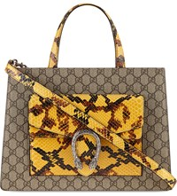 Gucci Gg Print Pyton Leather Tote Beige Yellow