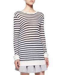 T By Alexander Wang Long Sleeve Striped Tee Ink Ivory