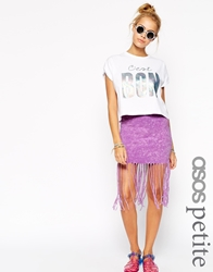 Asos Petite Mini Skirt With Self Fringing In Tie Dye Pink