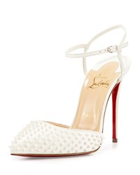 Christian Louboutin Baila Spike Leather Red Sole Pump White Girl's Size 36.0B 6.0B Neige