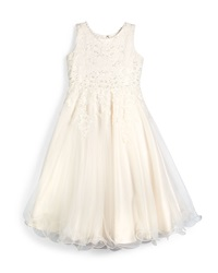 Joan Calabrese Sleeveless Beaded Lace And Tulle Dress Ivory Size 7 14 Ivory Gardenia