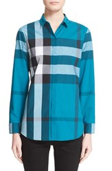 Women's Burberry Brit Large Check Cotton Shirt Dark Teal