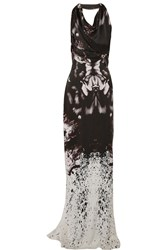 Maria Grachvogel Notan Draped Printed Silk Gown Purple