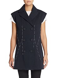Bottega Veneta Stitched Canvas Double Breasted Vest Black