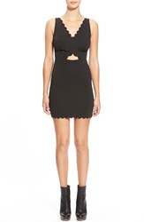 Topshop Cutout Detail Scallop Edge Body Con Dress Regular And Petite Black