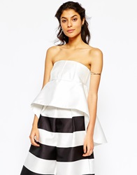 Solace London Bandeau Top With Exaggerated Frill White