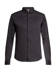 Wooyoungmi Silk Collar Cotton Poplin Shirt Navy