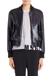 Msgm Women's Laminated Tweed Bomber