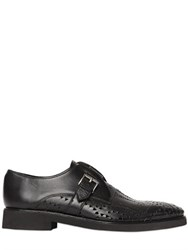 John Richmond Perforated Leather Monk Strap Shoes