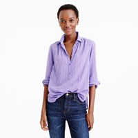 J.Crew Gathered Popover In Two Tone Lavender Gingham