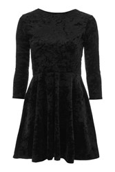 Topshop Low Back Velvet Skater Dress Black