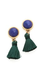 Lizzie Fortunato Tiny Tassel Earrings Gold Lapis Green