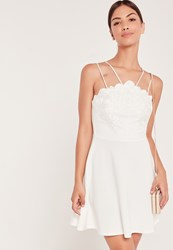 Missguided Lace Top Double Strap Skater Dress White White