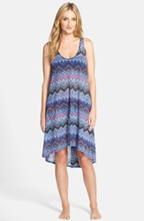 Profile By Gottex 'Skyline' Mesh Cover Up Dress Multi Blue