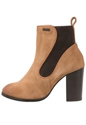 Superdry Fleur High Heeled Ankle Boots Tan Light Brown