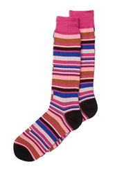 Tallia Multi Striped Socks Pink