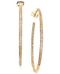 Eliot Danori Earrings Gold Tone In And Out Crystal Hoop
