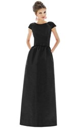 Women's Alfred Sung Cap Sleeve Dupioni Full Length Dress