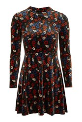 Topshop Ditsy Velvet Flippy Dress Multi