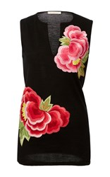 Naeem Khan Cashmere Floral Applique Tank Top Black