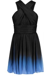 Halston Ombre Plisse Chiffon Mini Dress Black
