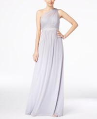 Adrianna Papell Embellished One Shoulder Gown Silver