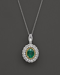 Bloomingdale's Emerald Yellow Diamond And White Diamond Pendant Necklace In 14K White And Yellow Gold 17 Green