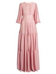 Roksanda Ilincic Aubert Seersucker Maxi Dress Light Pink
