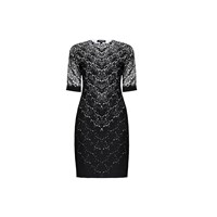 Rumour London Printed Lace Monochrome Fitted Dress Black