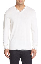 Robert Graham 'Newcastle' V Neck Sweater White