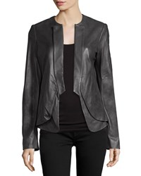 Halston Open Front Leather Jacket Charcoal Grey