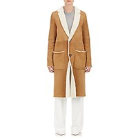 Tomorrowland Women's Shearling Button Front Coat Tan