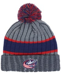 New Era Columbus Blue Jackets Stripe Chiller Pom Knit Hat Charcoal Red Navy