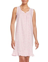 Miss Elaine Printed Cotton Blend Nightgown Pink White