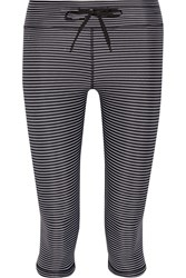 The Upside Lauren Striped Stretch Jersey Leggings Black