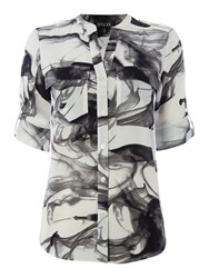 Episode Blouse In Shadow Print Black White
