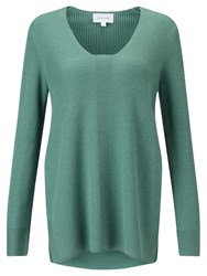 Jigsaw Fern Slim Rib V Neck Jumper Fern
