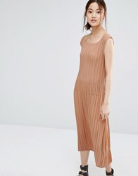 Zacro Dress With Micro Pleats Dusty Rose Red