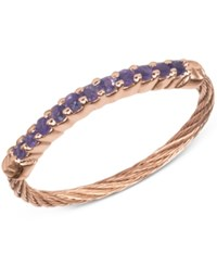 Charriol Women's Amethyst Crystal Rose Gold Tone Pvd Stainless Steel Cable Ring