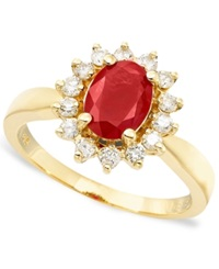 Effy Collection Royalty Inspired By Effy Ruby 1 3 8 Ct. T.W. And Diamond 3 8 Ct. T.W. Oval Ring In 14K Gold