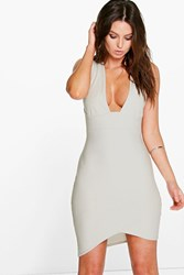 Boohoo Plunge Asymetric Hem Bodycon Dress Silver