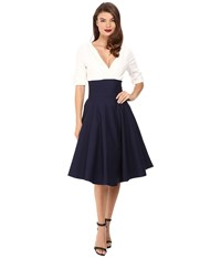 Unique Vintage 3 4 Sleeve Delores Swing Dress Navy White Women's Dress Blue