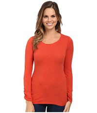Mod O Doc Long Sleeve Twisted Scoopneck Tee Persimmon Women's T Shirt Orange