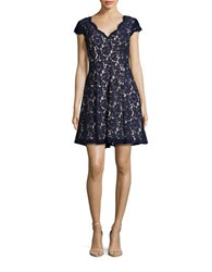 Eliza J Cap Sleeve Lace Fit And Flare Dress Navy