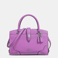 Coach Mercer Satchel 24 In Grain Leather Silver Orchid