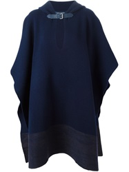 Sofie D'hoore Contrasting Hem Hooded Poncho Blue