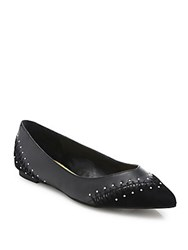 Saks Fifth Avenue Fiona Studded Leather Flats Black