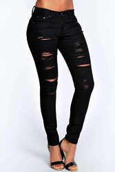 Boohoo High Rise Heavy Ripped Super Skinny Jeans Black